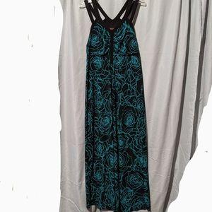 Anna Scholz 2 strap maxi dress floral print 10